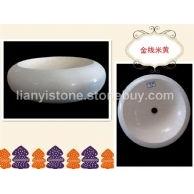 惠安联益金线米黄圆盆,台上盆