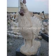 公鸡雕刻等各种石雕制品