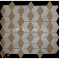 进口白色大理石+黄砂岩艺术马赛克FSMT-209