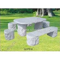 灰白色花岗岩桌子长凳GCF516