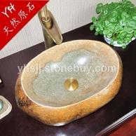 石头洗手盆 复古鹅卵石台上盆洗手盆艺术盆洗脸盆盘石材洗手盆