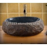 供应复古石头台上盆S63 中式石材洗手盆仿古艺术面盆洗脸盆盘台盆