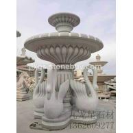 天鹅水钵 白石水波 石雕喷泉雕塑