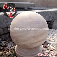 花岗岩石雕圆球 路桩球 大理石圆球墩 挡车球 五莲红石球