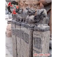 石头栓马石,石雕拴马桩,十二生肖栓马石