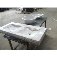 B-123出口美国白色大理石异形洗手盆WHITE MARBLE BASIN