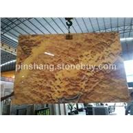 大量供应天然桔子玉工程板材 电视背景墙透光玉石装饰材料
