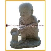 石雕小沙泥 劳动小和尚 人物雕刻小和尚