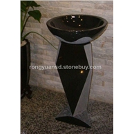 蒙古黑石洗手盆   天然石材洗手盆 别墅石材洗手盆