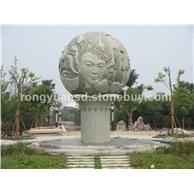 订做石雕风水球 石质石球雕刻 水球喷泉 广场石球