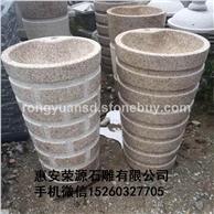 别墅室内石材洗手盆 黄锈石洗手盆 天然石材洗手盆  12