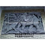 石雕浮雕 画壁 景观墙  大象浮雕墙 青石浮雕 黄砂岩浮雕
