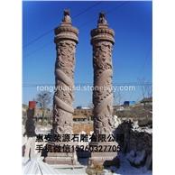 花岗岩石柱 龙凤柱雕塑 文化柱石雕 罗马柱雕塑 景观柱088