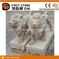 MGL074米黄洞石小狮子雕刻
