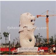 石雕鱼尾狮 大型喷水石材鱼尾狮雕塑