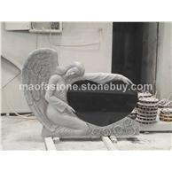 山西黑天使抱心雕刻墓碑,雕刻墓碑工厂。