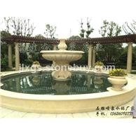 埃及米黄水钵 石雕喷水池 景区石雕喷泉
