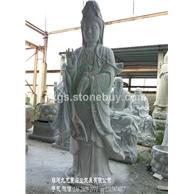 石雕滴水观音 观音石像加工 净瓶观音石雕像