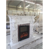 F-004意大利A级雪花白大理石欧式壁炉Fireplace Mantel