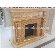 七彩玛瑙玉石雕刻壁炉架