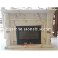 F-285金丝白玉石雕刻壁炉