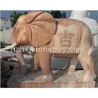 厂家供应晚霞红石雕动物雕塑大象貔貅麒麟人物雕塑
