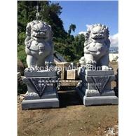 寺庙石雕狮子 户外石狮子雕塑 石材狮子厂家