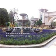 黄锈石喷水池 石雕喷泉制作 福建专业水钵厂家