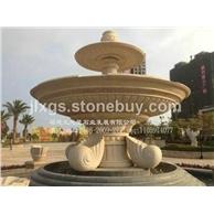 埃及米黄石材水钵喷泉 广场园林景观石雕喷泉水钵