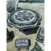 雕刻圆形八角方型石头桌子石头凳子石椅子