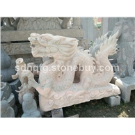 石雕动物石雕龙晚霞红石材雕刻龙石雕麒麟