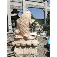 石雕喷水鱼晚霞红石雕鱼景观雕塑鱼青石仿古雕塑