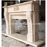 F-069米黄大理石雕刻壁炉Fireplace Mantel