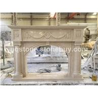 F-043出口德国大理石雕刻壁炉架Fireplace Mantel