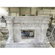 F-001Volakas Marble Fireplace Mantel希腊爵士白纯手工雕刻壁炉架