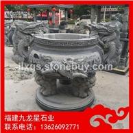 庙宇供奉石头香炉 芝麻灰石雕香炉 天公炉