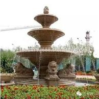 石雕喷泉 黄锈石石雕花盆 黄锈石石雕喷泉