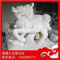 石雕麒麟定制厂家 泉州白石麒麟 石材麒麟