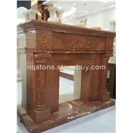 珊瑚红雕花装饰壁炉架firplace
