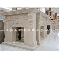 世纪米黄雕花壁炉MANTEL
