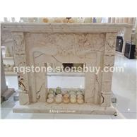 土耳其进口索菲特金大理石雕刻壁炉Fireplace Mantel)