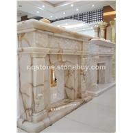 金丝白玉欧式现代手工雕刻壁炉架