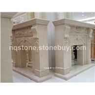 新莎安娜米黄大理石雕刻壁炉TEA ROSE FIREPLACE