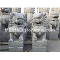 灰麻雕刻石狮