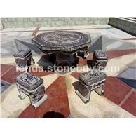 青石仿古雕刻石桌