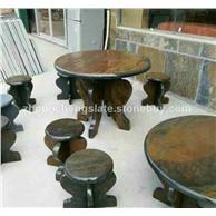 銹石板巖石桌石凳